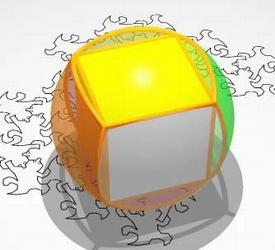 Image du film Dimensions n°2 - Le cube gonflé que l'on va projeter stéréographiquement sur le plan